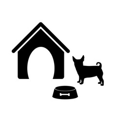 black silhouette dog animal house and pet bowl set vector image