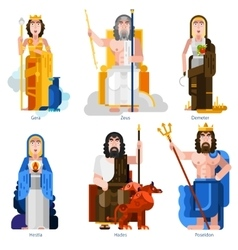Olympic Gods Decorative Icons Set vector image