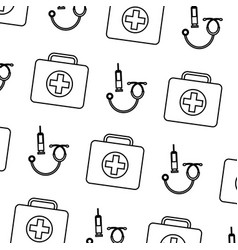 seamless pattern medical kit fisrt aid syringe and vector image