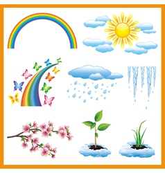 Set of spring nature object icon vector image