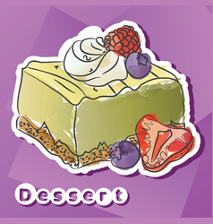 sticker with lime dessert vector image