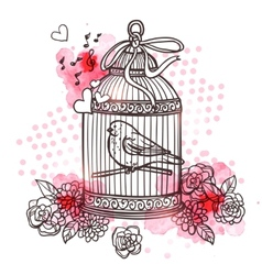 Bird In Cage vector image