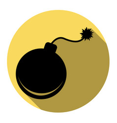 bomb sign flat black icon vector image