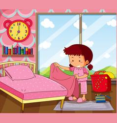 girl making bed in pink bedroom vector image vector image