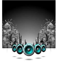 speakers with floral elements vector image vector image