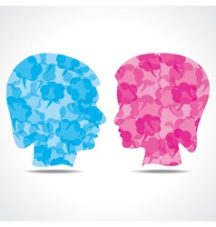 Creative male and female face of message bubble vector image