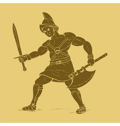 Gladiator in carved style vector image vector image