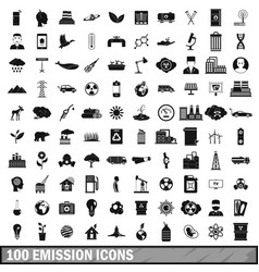 100 emission icons set simple style vector