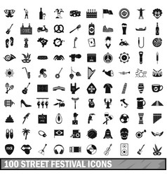 100 street festival icons set simple style vector