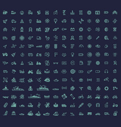 178 transport icons thin line design vector