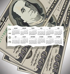 A 2017 calendar with a 100 dollar bill design vector
