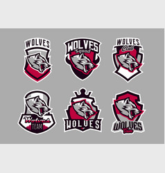 a set of colorful emblems logos snarling wolf vector image