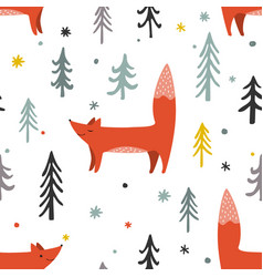 a winter forest seamless vector image