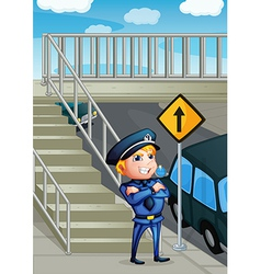 A wise face of a policeman vector