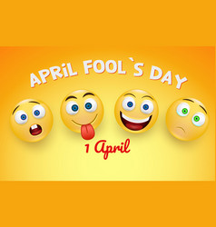 april fool s day card - crazy facial expression vector image