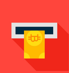 atm bitcoin flat icon vector image