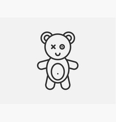 bear toy icon on white background line style vector image