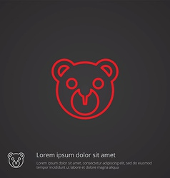 Bear toy outline symbol red on dark background vector