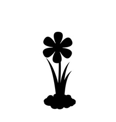 black silhouette of flower growing in soil vector image