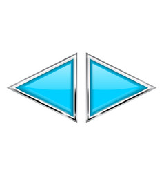 Blue triangle buttons with metal frame vector