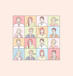 business people emotions and facial expressions vector image