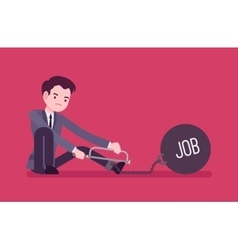 Businessman chained with a metall weight Job vector