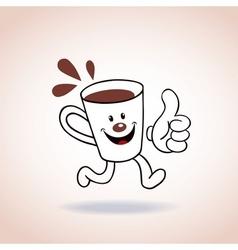 Cartoon coffee cup mascot character vector