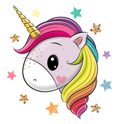 cartoon unicorn on a white background vector image
