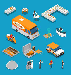 Catering isometric icons set vector