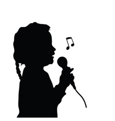 Child silhouette singing vector