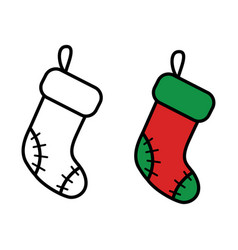 christmas sock icon on white background vector image