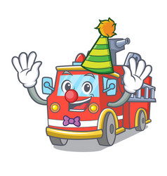 Clown fire truck mascot cartoon vector