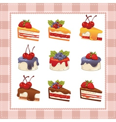 collection cakes on white background vector image