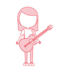 Cute pink women guitar cartoon vector