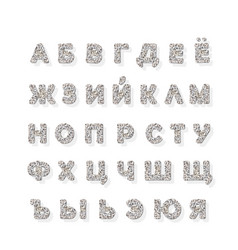 Cyrillic silver glitter font isolated on white vector