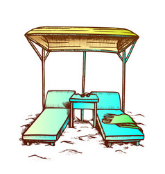 Deck chairs under canopy on beach retro vector
