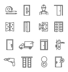 Door installation tools thin line icons set vector