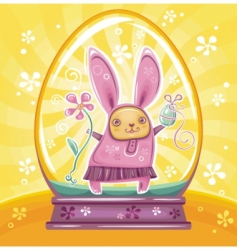 easter bunny inside snowdrop vector image