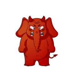 elephant character angry red with horns devil vector image vector image