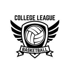 emblem template with volleyball ball isolated on vector image