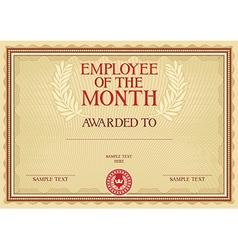 Emplyee month certificate vector