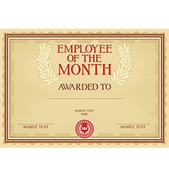 Emplyee of the month certificate vector