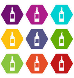 empty bottle icons set 9 vector image