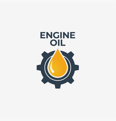 Engine oil logo engine gear with oil on white vector
