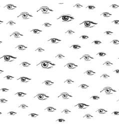 Eyes pattern from hand drawn psychedelic elements vector