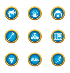 fire protection icons set flat style vector image
