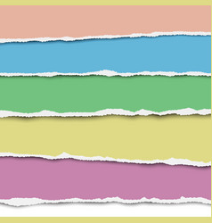 five horizontal torn layers of paper vector image