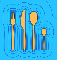 Fork spoon and knife sign sand color icon vector