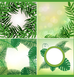 Four different frames with leaves and vines vector