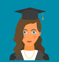 graduating young woman in flat style vector image